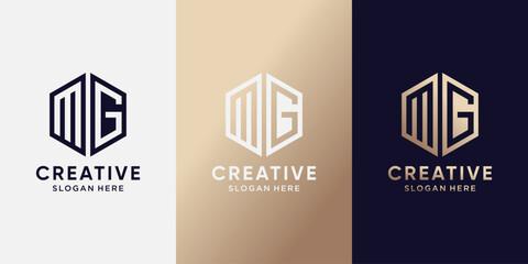 Fototapeta Creative monogram logo design initial letter MG with hexagon style. Logo icon for business company obraz