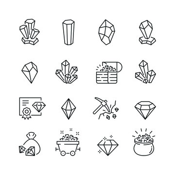 Crystal related icons: thin vector icon set, black and white kit