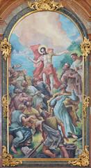 VIENNA, AUSTIRA - JUNI 24, 2021: The painting of Apparition of resurrected Jesus to apostles on the main altar of church Kalvarienbergkirche by Hans Alexander Brunner (1962).