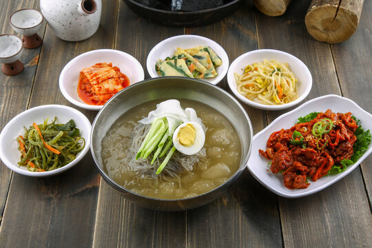 Korean traditional water naengmyeon, a summer delicacy