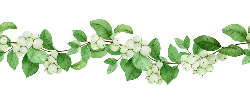 seamless watercolor border, frame, banner with snow berry. leaves, branches and berries of a plant snow berry isolated on white background. print on the theme of christmas, winter, new year.