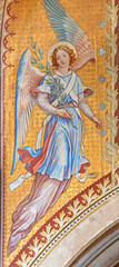 VIENNA, AUSTIRA - JUNI 24, 2021: The fresco of angel with the flower in the Votivkirche church by brothers Carl and Franz Jobst (sc. half of 19. cent.).