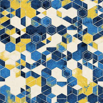 Seamless abstract vibrant blue and yellow pattern for print. High quality illustration. Textured background effect graphic motif. Vivid party glowing effect. Seamless repeat raster jpg pattern print.
