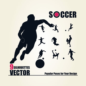 Soccer Players Silhouettes Collection Vector Image. Popular poses for your design. Easy to edit. Professional Collection. There is 9 silhouettes vector.