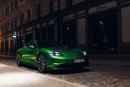 Porsche Taycan Turbo at the old night city centre