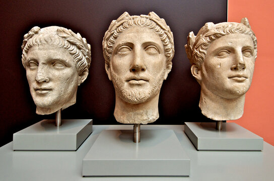 Three male heads of worshippers from the Temple of Apollo-Reshef, Cyprus, 350-250 BCE. Early Hellenistic style. British Museum, London