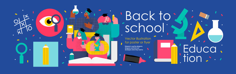 Obraz back to school and education. Vector illustration of schoolchildren and students in college and university with books, pencils, microscope and school objects. Drawings for poster, background or flyer - fototapety do salonu