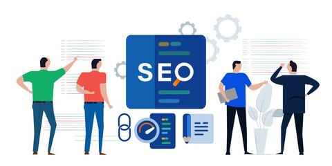 Fototapeta SEO search engine optimization marketing page team discussing analyzing performance code obraz