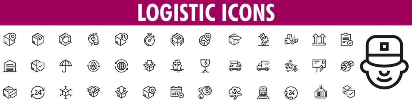 Logistics Icons. Logistics Icons Set. Shipping And Delivery Icons.