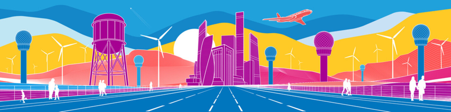 Colorful bright field landscape. Futuristic illustration. Water tower. People walk along highway. Airplane fly. Wind turbines. Business center. White outline on color waves background. Vector design