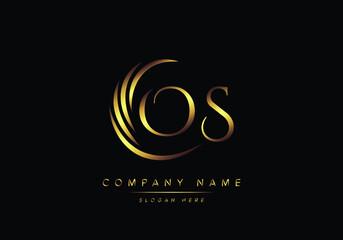 Obraz alphabet letters OS monogram logo, gold color elegant classical - fototapety do salonu