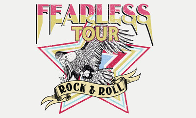 Fototapeta Fearless rock and roll tour t shirt design. Eagle music poster artwork for fashion. Rebel rocking print illustration for apparel and others. obraz