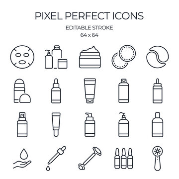 Skin care product related editable stroke outline icons set isolated on white background flat vector illustration. Pixel perfect. 64 x 64.