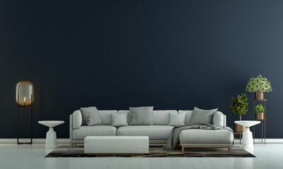 Fototapeta Modern living room interior and sofa and blue empty wall texture background  obraz
