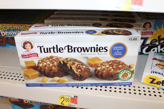 Little Debbie Turtle Brownies shot closeup on a metal shelf at a Walmart store in Hutchinson Kansas that's bright and colorful.