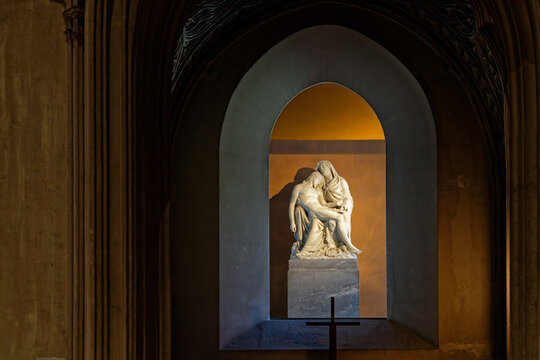 AIX-LES-BAINS, FRANCE, June 4, 2021 : Statue in Hautecombe Abbey. Origins of Hautecombe is a community founded about 1100 in a narrow valley near Lake Bourget