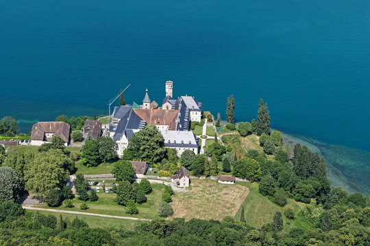 AIX-LES-BAINS, FRANCE, June 4, 2021 : Outdoor view of Hautecombe Abbey on the shore of Lake Bourget