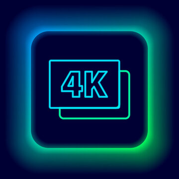 Glowing neon line 4k Ultra HD icon isolated on black background. Colorful outline concept. Vector