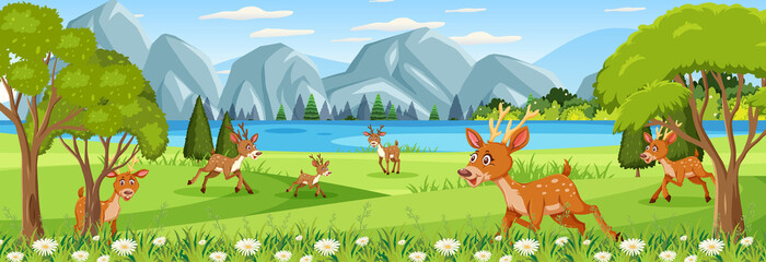 Panorama landscape scene with many deers in the forest
