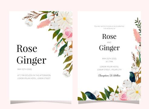 watercolor flower wedding invitation card template