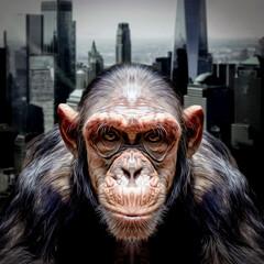 monochrome sketch of monkey head in big city , close view