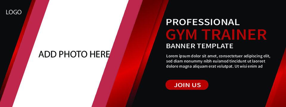 creative gym web banner template design