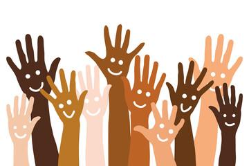 Obraz Vielfältige Hände mit Smiley als Hintergrund - fototapety do salonu