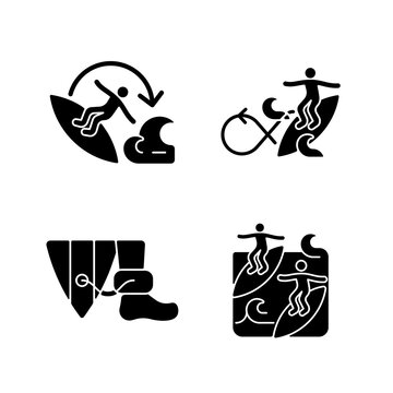 Extreme water sport black glyph icons set on white space. 360 surfing maneuver. Wearing surfboard leash. Performing roundhouse cutback. Catching waves. Silhouette symbols. Vector isolated illustration