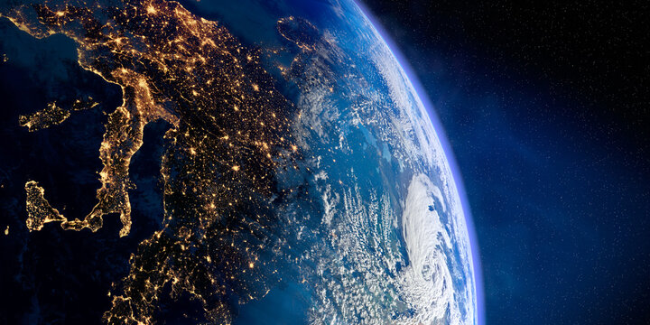 Planet Earth with precise relief and volumetric atmosphere. Day-night transition. Europe. Mediterranean Sea and Italy in the foreground. 3D rendering. Elements of this image furnished by NASA