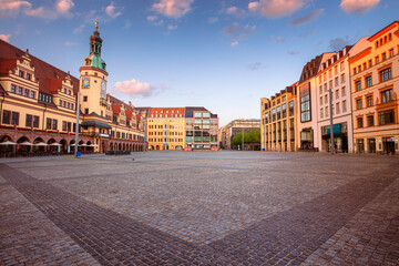 Fototapeta Leipzig, Germany. Cityscape image of Leipzig, Germany with Old Town Hall and the Market square at sunrise. obraz