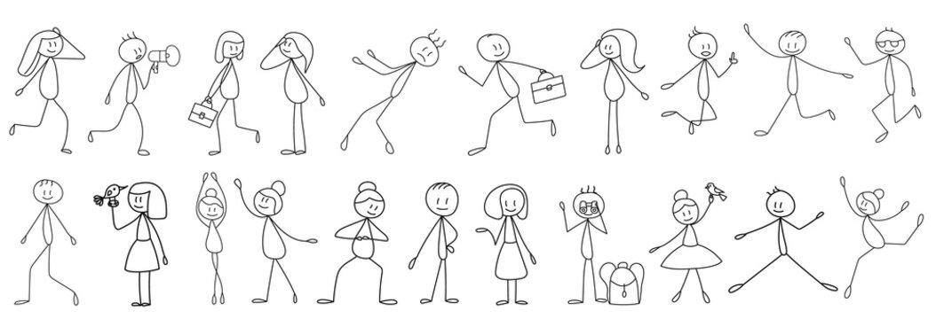 stick figure set of little men, isolated, vector