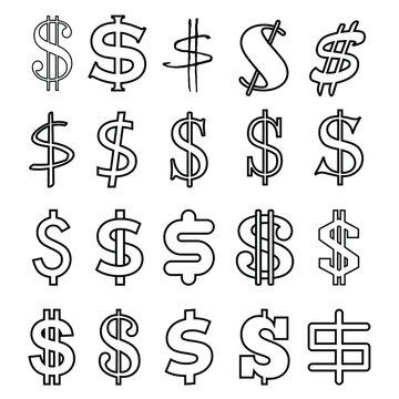 Dollar icon vector set. Money illustration sign collection. Finance symbol or logo.
