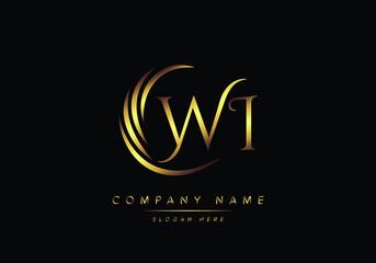 Fototapeta alphabet letters WI monogram logo, gold color elegant classical obraz