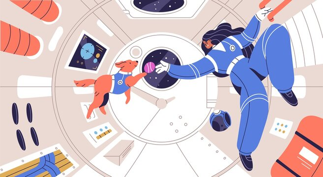 Weightless cosmonaut floating with dog in spaceship cabin. Zero gravity and weightlessness concept. Astronaut fly with animal in space ship in universe. Flat vector illustration of human in cosmos