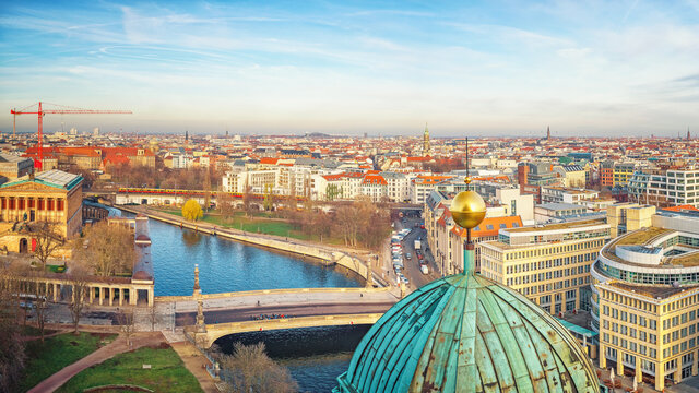 Aerial view over Spree river, Berlin, Germany