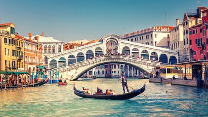 Obraz Gondola on Grand canal near Rialto bridgein Venice, Italy - fototapety do salonu