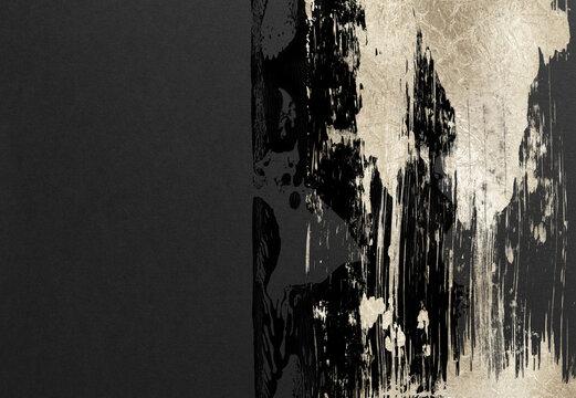 背景 テクスチャ 和風 和紙 フレーム グランジ ペイント 筆 アート 黒 金 金粉 リュクス デザイン