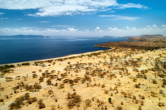 Aerial view of the shore of lake Tana, one from the Great African Rift Valley lakes in Ethiopia. Arid, yellow landscape contrasting with deep blue color of the lake. Traveling Ethiopia. Africa.