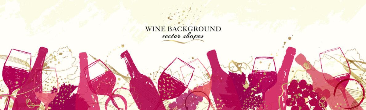 Elegant wine background design. Wide banner with illustration of wine bottles and glasses and golden details.