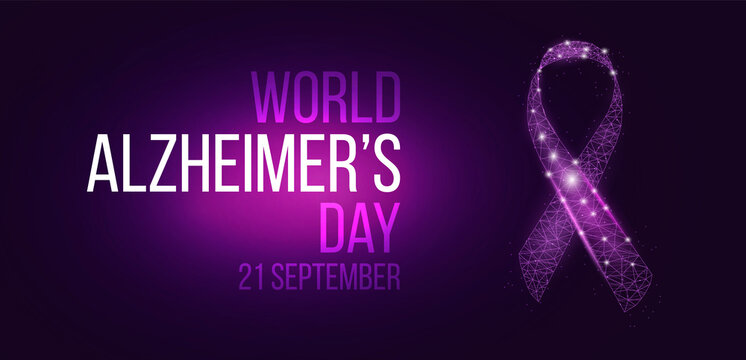 World World Alzheimer's Day concept. Banner template with glowing low poly ribbon awareness. Futuristic modern abstract. Isolated on dark background. Vector illustration