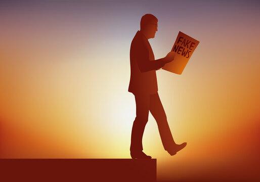 Concept du danger des Fake news avec un homme qui marche en lisant un journal de fausses informations qui le mènent droit vers un gouffre.