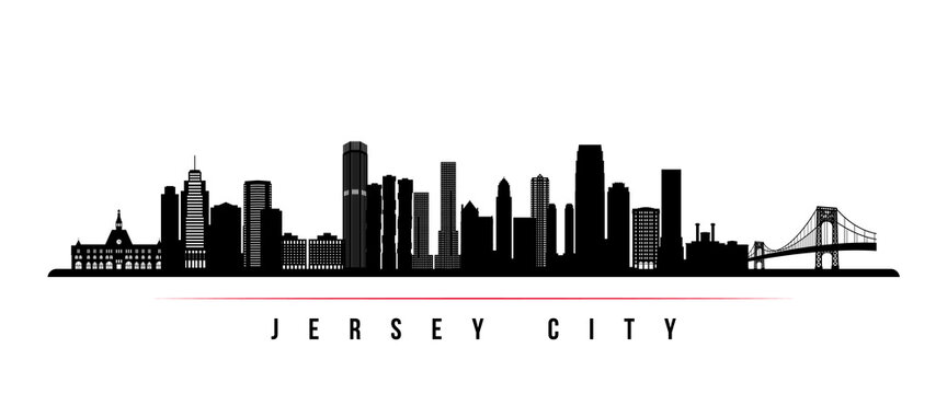 Jersey City skyline horizontal banner. Black and white silhouette of Jersey City, New Jersey. Vector template for your design.