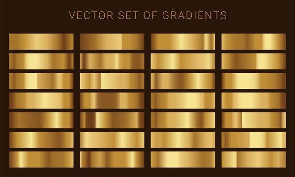 Vector set of gold gradients