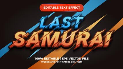 Fototapeta Last Samurai editable text effect for cartoon comic game title style template obraz