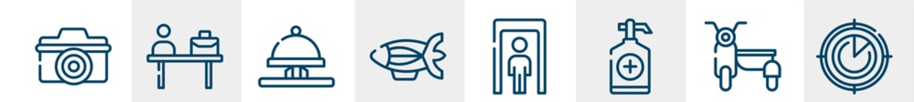 airport line icons such as digital camera, check in desk, hotel bell ringing, blimp, full body, airplanes on radar outline vector sign. symbol, logo illustration. linear style icons set. pixel