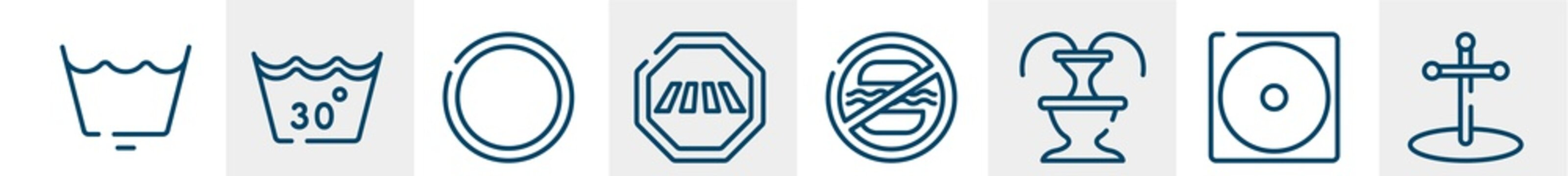poi public places line icons such as wash cycle permanent press, 30 degree laundry, empty circle, crossing road caution, food not allowed, cross stuck in ground outline vector sign. symbol, logo
