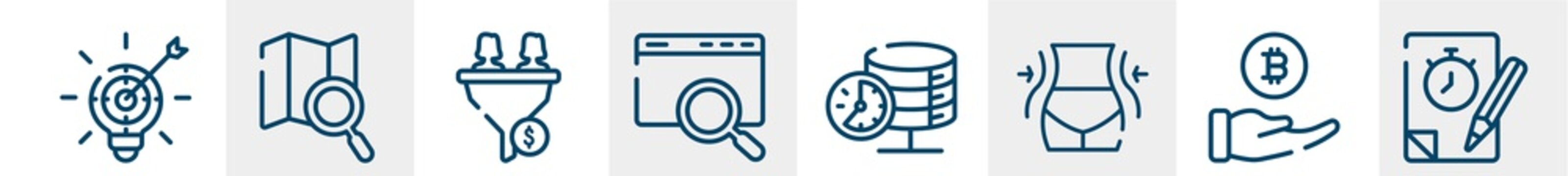 general line icons such as marketing strategy, map search, lead conversion, sem, real time data, quiz outline vector sign. symbol, logo illustration. linear style icons set. pixel perfect vector