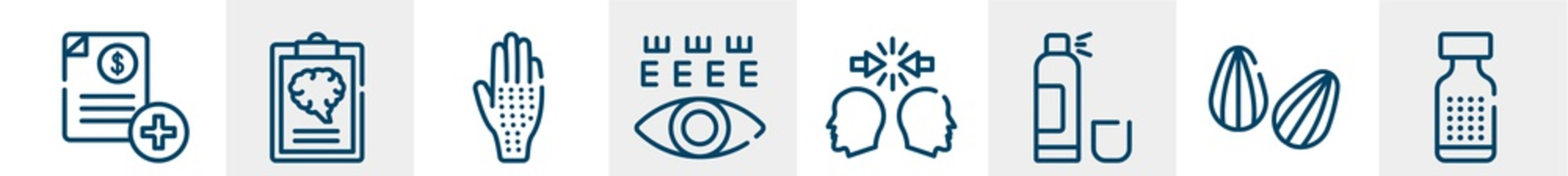 medical services line icons such as medical invoice, mental checklist, allergic, eye test, conflict, homeopathy outline vector sign. symbol, logo illustration. linear style icons set. pixel perfect