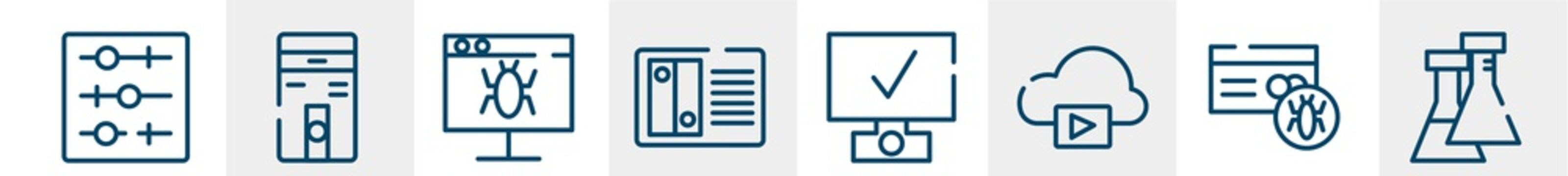 nerd line icons such as tuning, computer case, defect, nas, deployment, flasks outline vector sign. symbol, logo illustration. linear style icons set. pixel perfect vector graphics.
