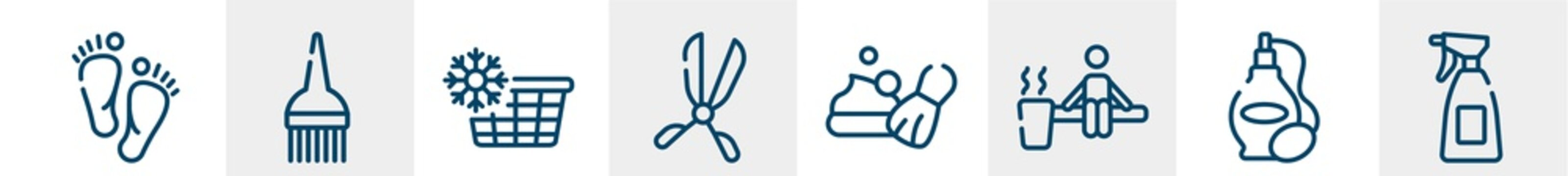 hair salon line icons such as barefoot, brush tool, cold water, scissors badge, shaving foam, hair salon spray bottle and can outline vector sign. symbol, logo illustration. linear style icons set.